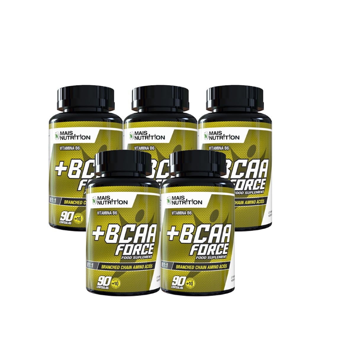 5 unidades de BCAA Force 8:1:1 100 capsulas Mais Nutrition