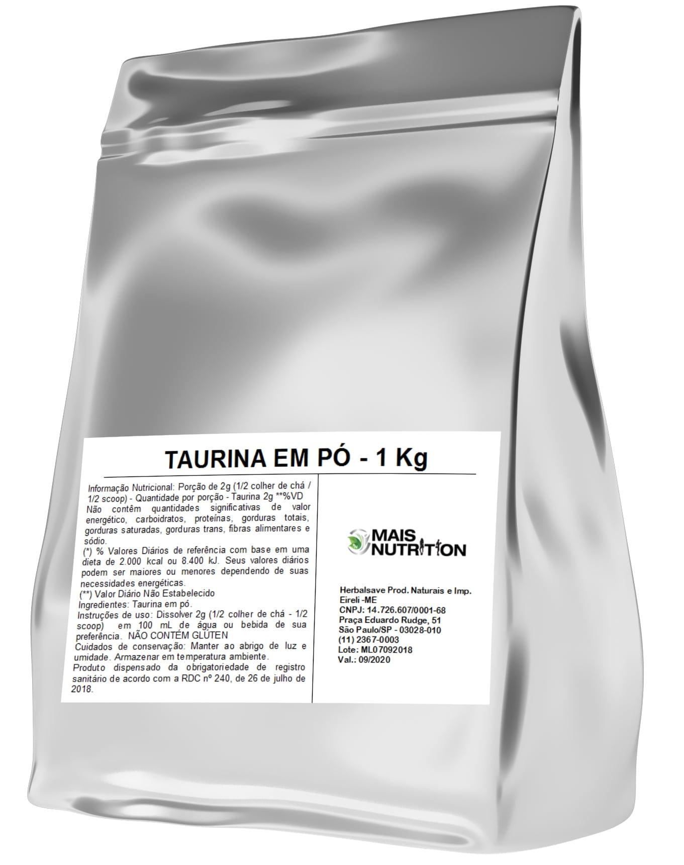 POR R$51,00 - Taurina 1Kg 1 Kilo Quilo Embalagem Refil Mais Nutrition