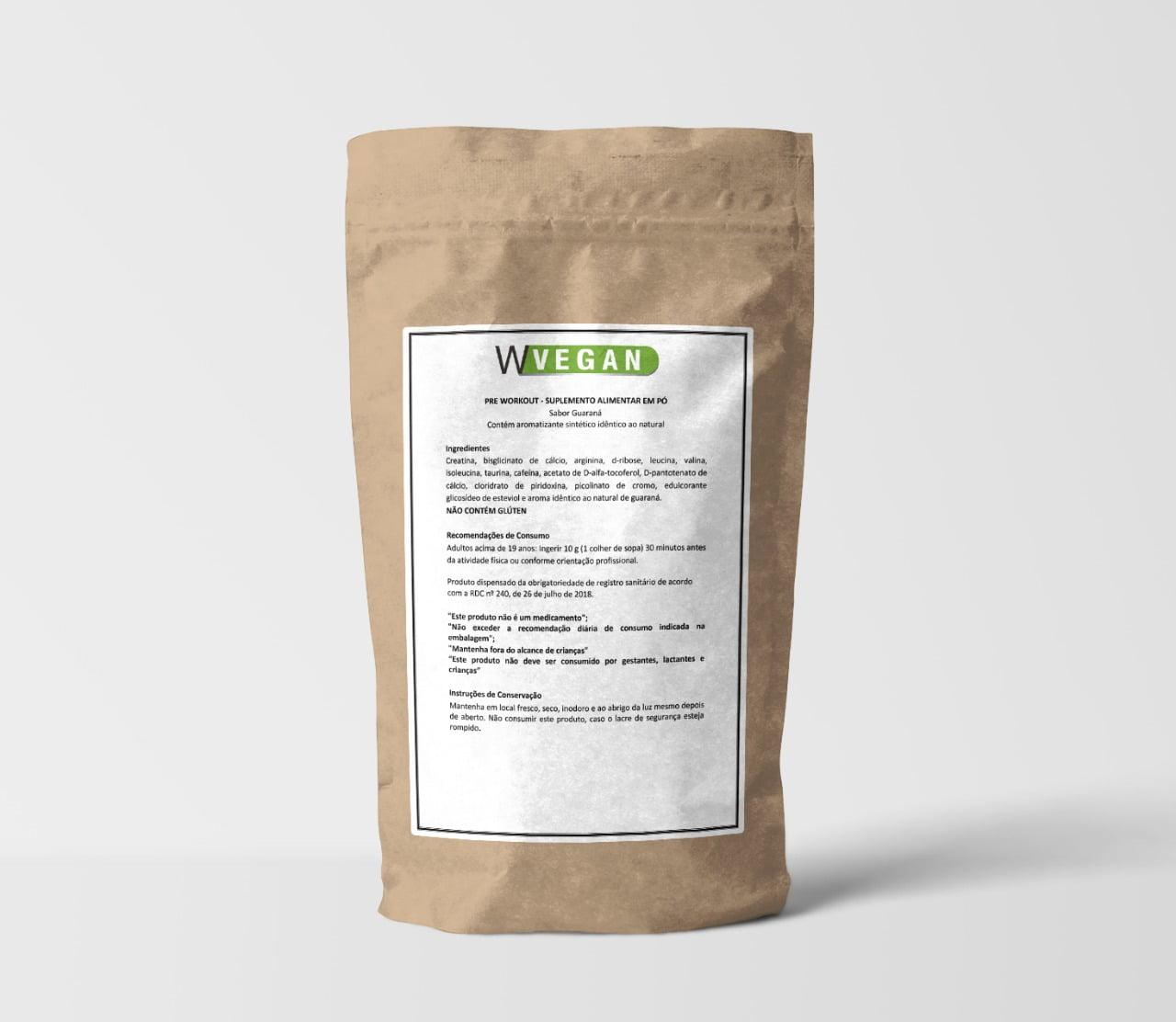 Pre Treino 200g Vegan Embalagem Refil – Sabor Guaraná