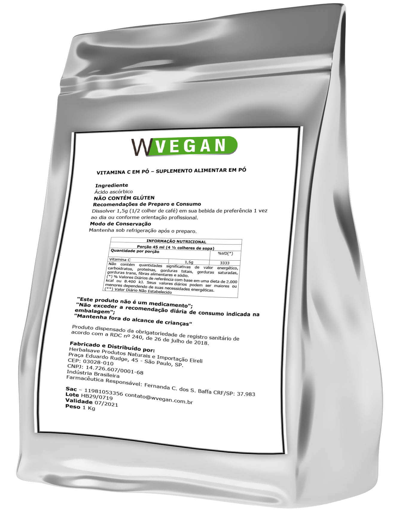 Vitamina C Ácido Ascórbico 1Kg 1 Kilo Quilo Embalagem Refil WVegan