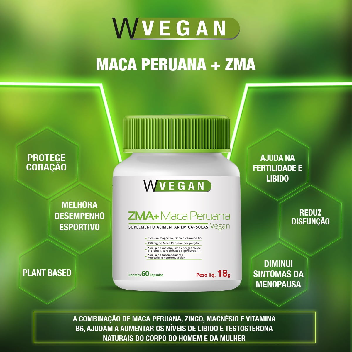 ZMA + Maca Peruana 400mg 60 capsulas