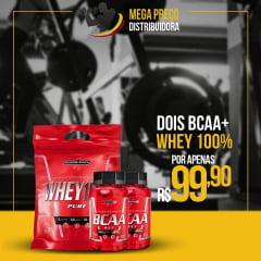 POR APENAS R$99,90 - 2 BCAA 90 capsulas 2:1:1 + 1 Whey 100% 907g Pouch Refil Integralmédica
