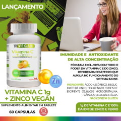 Vitamina C 1000mg + Zinco 60 tabletes comprimidos WVegan