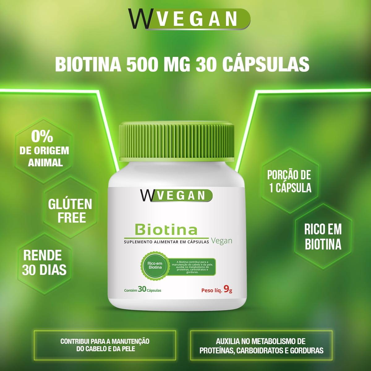 Biotina 500mg 30 capsulas WVegan