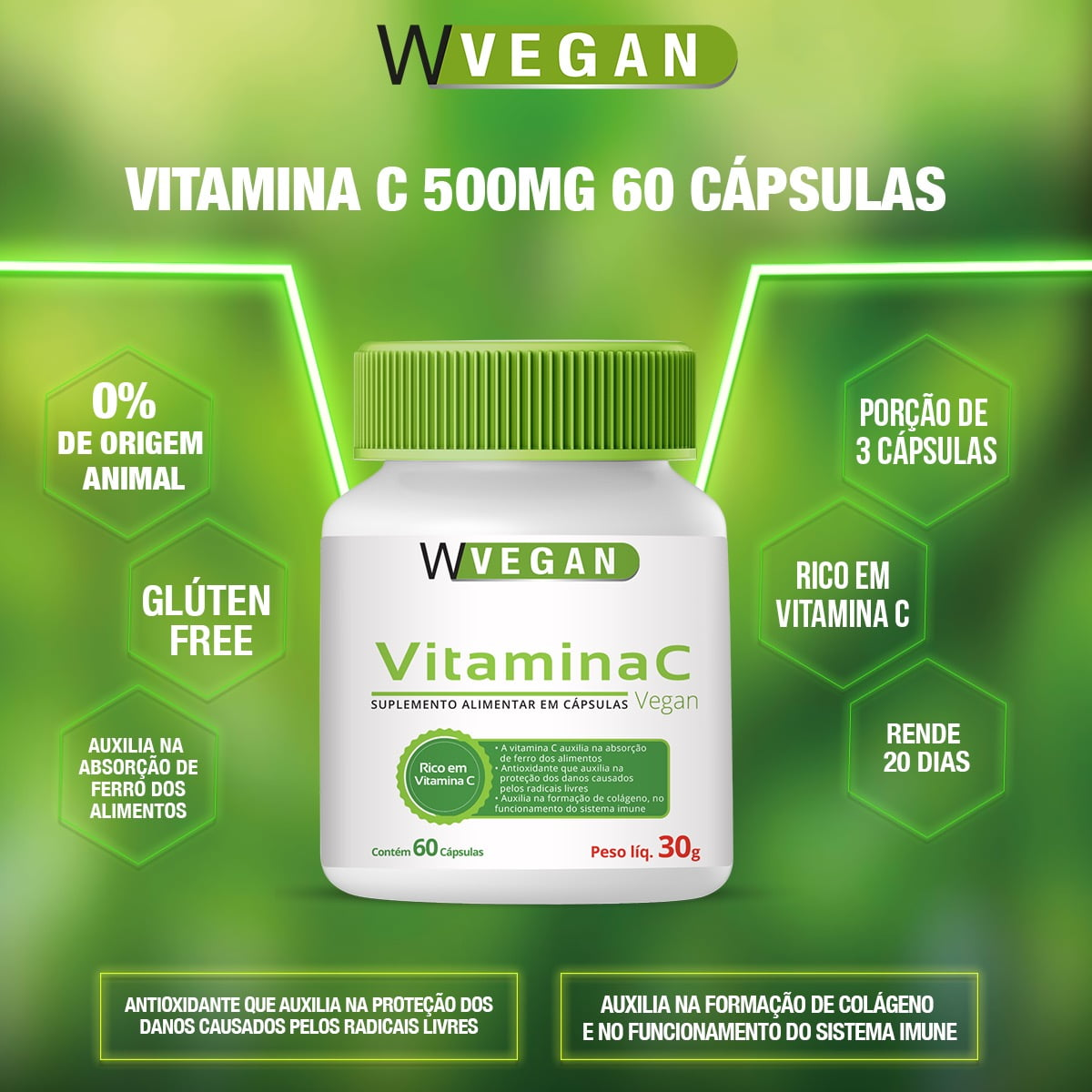 Vitamina C 500mg 60 capsulas Acido Ascorbico WVegan